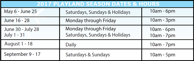 Playland PlayPass 2017 Schedule