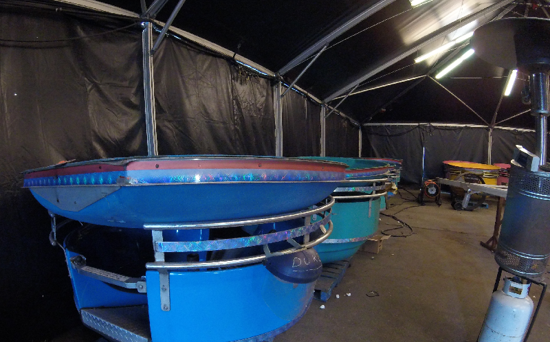 The Westcoast Wheel enclosures are stored away in their very own tent with heaters to have them ready for the 2017 Playland Season!
